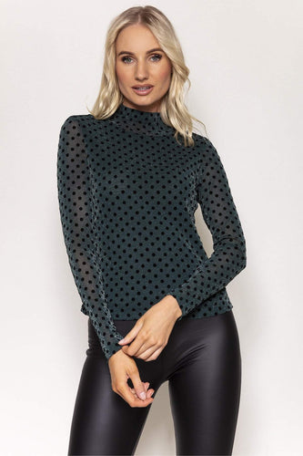 Kelly & Grace Weekend Tops Green / S / Long Sleeve Mesh Polka High Neck Top in Green
