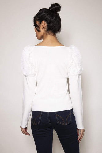 Nova of London Jumpers Mesh Ruffle Top in White