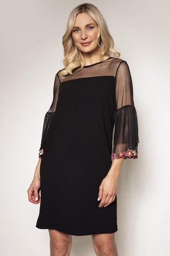 Pala D'oro Dresses Black / S/M / Knee length Mesh Sleeve Dress in Black