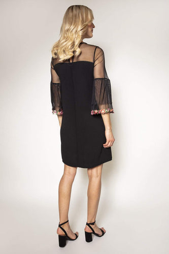 Pala D'oro Dresses Mesh Sleeve Dress in Black