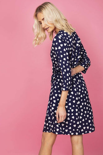 Pala D'oro Dresses Mock Wrap Dress in Navy Heart Print