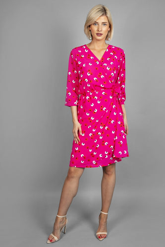 Pala D'oro Dresses Mock Wrap Dress in Pink Print