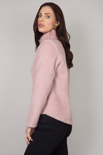 Pala D'oro Jackets Mohair Zip Short Jacket in Pink