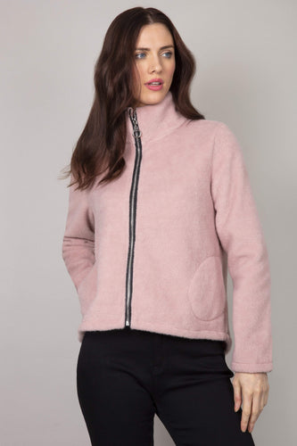 Pala D'oro Jackets Pink / S/M Mohair Zip Short Jacket in Pink