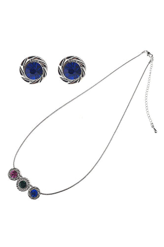 Soul Jewellery Jewellery Sets Silver Multi Flowers Necklace & Earring Set - SOUL Special