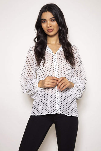 Rowen Avenue Tops White / S / Long Sleeve Organza Blouse in White