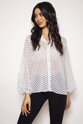 Rowen Avenue Tops Organza Blouse in White
