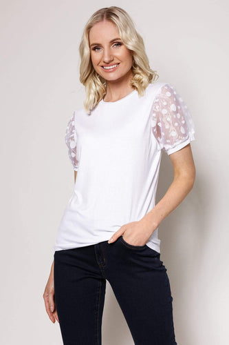 Rowen Avenue Tops Organza Sleeve Top in White