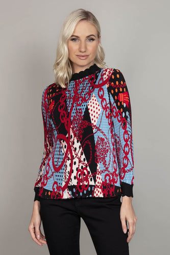 Darling Blouses Multi / 10 Oriental Print Top