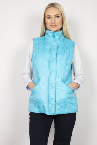 Voulez Vous Gilet Blue / 10 Oval Diamond Quilt Gilet with Studs in Blue
