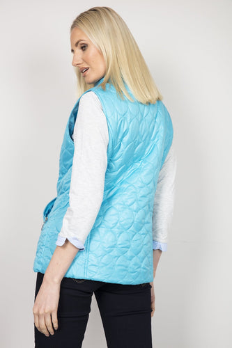 Voulez Vous Gilet Oval Diamond Quilt Gilet with Studs in Blue