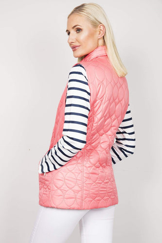 Voulez Vous Gilet Oval Diamond Quilt Gilet with Studs in Watermelon