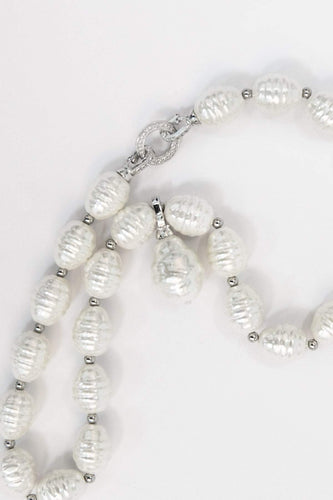 Joularie Necklaces Silver Oval Pearls Necklace