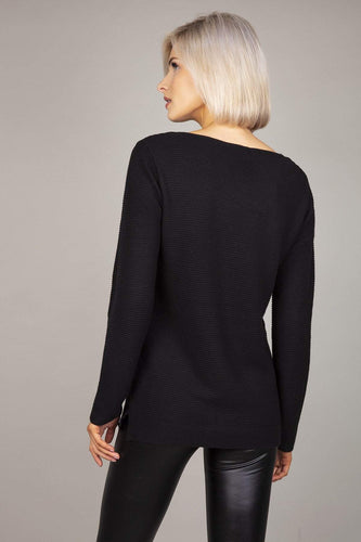 Rowen Avenue Jumpers Panel Crew Neck Knit in Black
