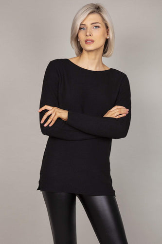 Rowen Avenue Jumpers Black / S Panel Crew Neck Knit in Black