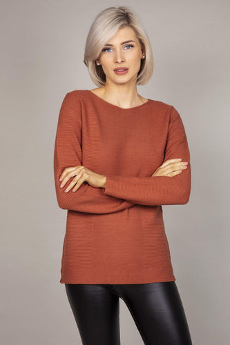Rowen Avenue Jumpers Brown / S Panel Crew Neck Knit in Brown