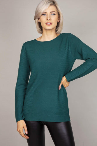 Rowen Avenue Jumpers Green / S Panel Crew Neck Knit in Green