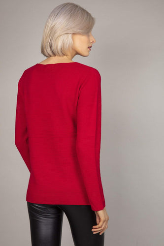 Rowen Avenue Jumpers Panel Crew Neck Knit in Red