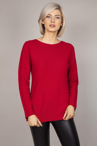 Rowen Avenue Jumpers Red / S Panel Crew Neck Knit in Red