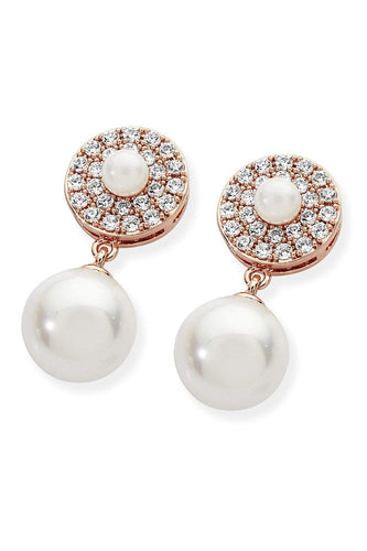 Tipperary Crystal Jewellery Earrings Rose Gold Pave Circle With Drop Pearl Earrings