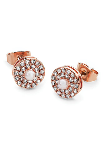 Tipperary Crystal Jewellery Earrings Pave Circle With Pearl Centre Earrings