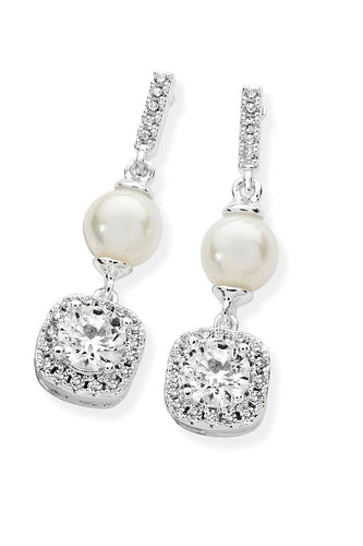 Tipperary Crystal Jewellery Earrings Silver Pearl Bar With Cubic Zirconia Drop Earrings