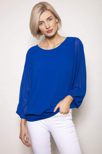 Pala D'oro Tops Blue / S/M / Long Sleeve Pearl Front Blouse in Blue