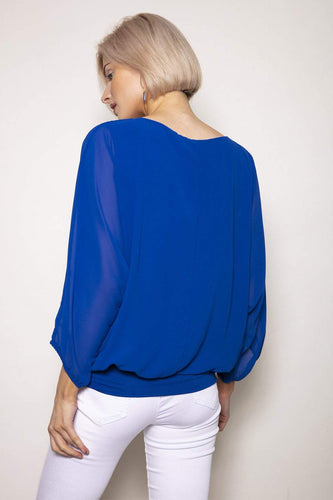 Pala D'oro Tops Pearl Front Blouse in Blue