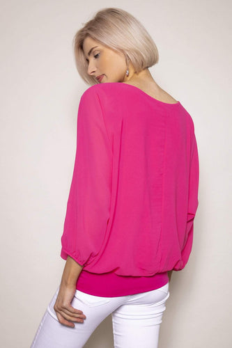 Pala D'oro Tops Pearl Front Blouse in Pink