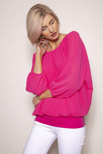 Pala D'oro Tops Pink / S/M / Long Sleeve Pearl Front Blouse in Pink
