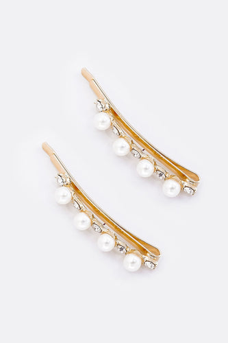 SOUL Accessories Hair Slides Gold Pearl Gold Diamante Hair Slides 2 Pack