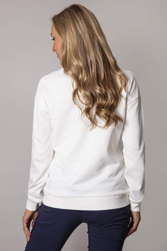 Kelly & Grace Weekend Jumpers Pearl Neck Sweater in Ivory