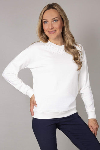 Kelly & Grace Weekend Jumpers White / S Pearl Neck Sweater in Ivory