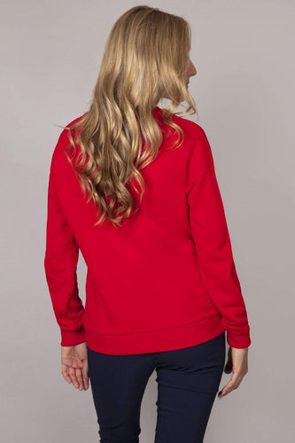 Kelly & Grace Weekend Jumpers Pearl Neck Sweater in Red