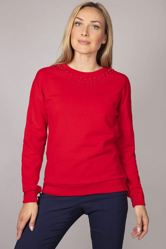 Kelly & Grace Weekend Jumpers Red / S Pearl Neck Sweater in Red