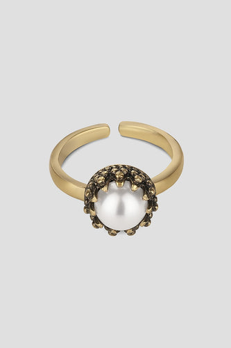 Newbridge Silverware Rings Pearl Setting Ring in Old Gold