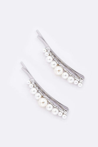 SOUL Accessories Hair Slides Silver Pearl Silver Hair Slides 2 Pack