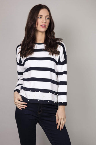 Kelly & Grace Weekend Jumpers Navy / S Pearl Stripe Jumper in White & Navy