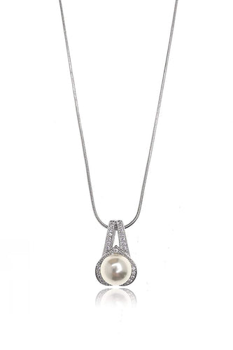 Joularie Necklaces Silver Pearl with Diamante Drop Necklace