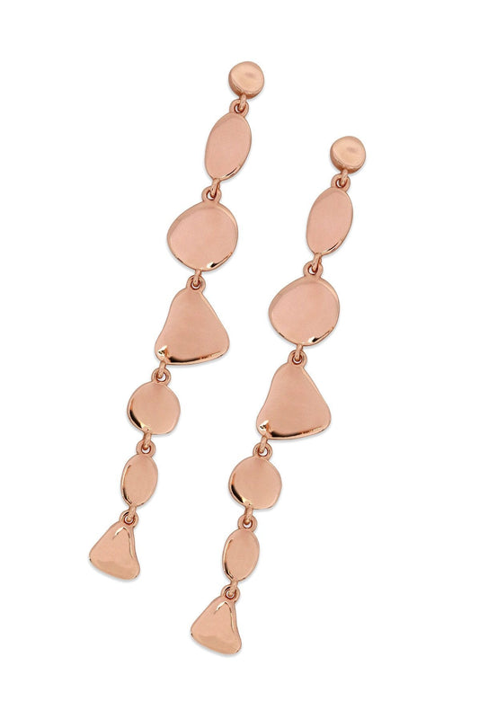 Tipperary Crystal Jewellery Earrings Rose Gold Pebble Disc Drop Earrings Rose Gold