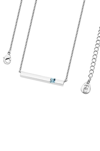 Tipperary Crystal Jewellery Necklaces Silver Pendant Aquamarine Bar March