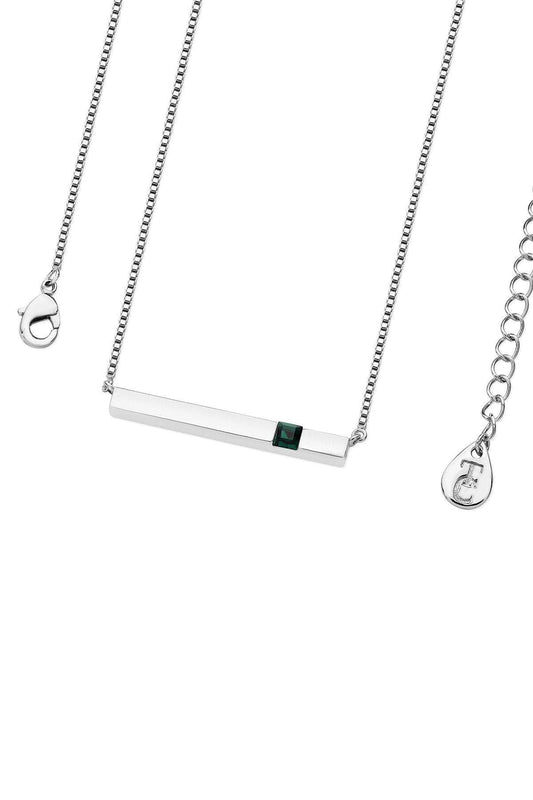 Tipperary Crystal Jewellery Necklaces Silver Pendant Emerald Bar May