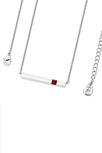 Tipperary Crystal Jewellery Necklaces Silver Pendant Ruby Bar July