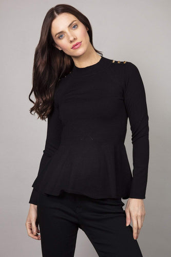 Rowen Avenue Jumpers Black / 8 Peplum Knit in Black