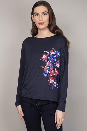 Kelly & Grace Weekend Tops Navy / S / Long Placement Print Top in Navy