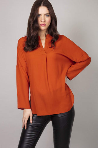 Rowen Avenue Blouses Orange / 8 Plain Blouse in Rust