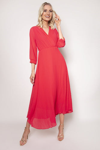 Pala D'oro Dresses Pink / S/M / Midi Plain Pleat Dress in Coral