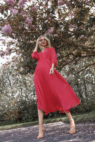 Pala D'oro Dresses Plain Pleat Dress in Coral