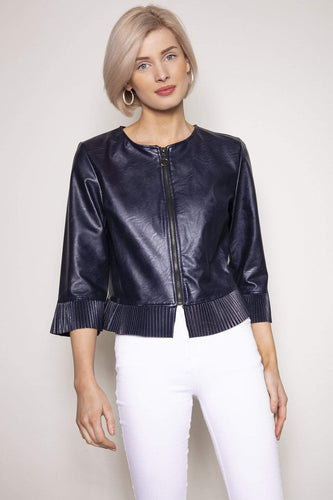 Pala D'oro Jackets Navy / S/M / Long Sleeve Pleat Cuff PU Jacket in Navy