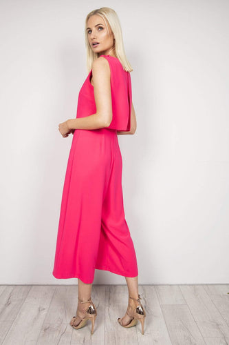 Daisy May Jumpsuits Pleat Detail Jumpsuit in Hot Pink